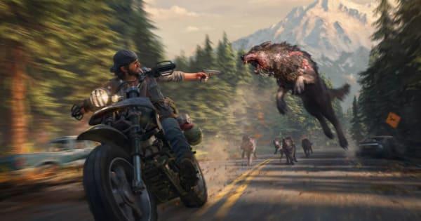 バイク走行しながら犬ゾンビと戦う画像