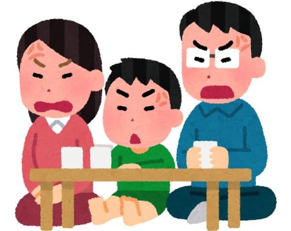 怒る家族のイラスト