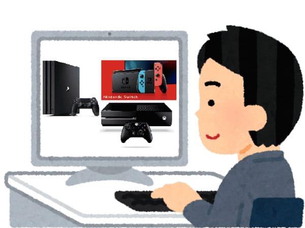 PCの中に各種ゲーム機が入っているイラスト